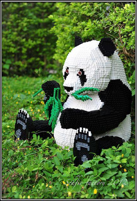 inspiratie om panda te maken van lego