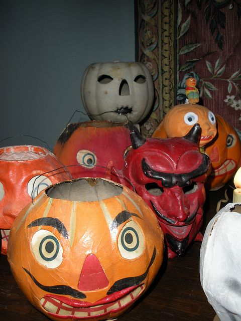 Collection of vintage Halloween lanterns.