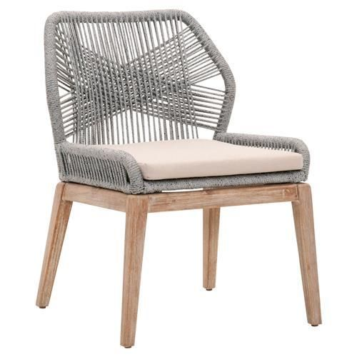 Nuu Garden Stationary Aluminum Woven Rope Outdoor Dining Chair With Beige Cushions 2 Pack D Wicker Dining Chairs Outdoor Dining Chairs Wicker Patio Furniture
