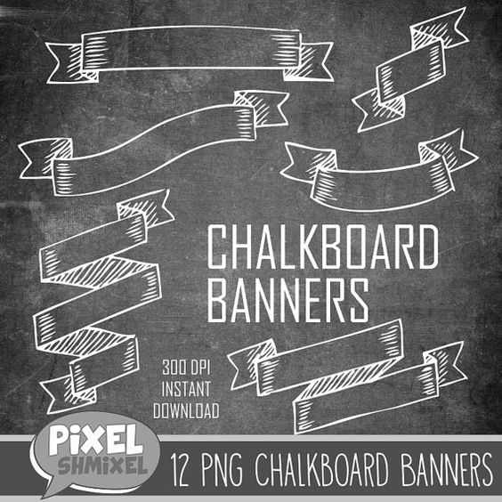 buy chalkboard clipart chalkboard banners chalkboard banners chalkboard ribbons digital. Black Bedroom Furniture Sets. Home Design Ideas
