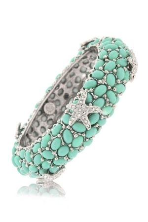 #Turquoise and diamond starfish bracelet by patrice