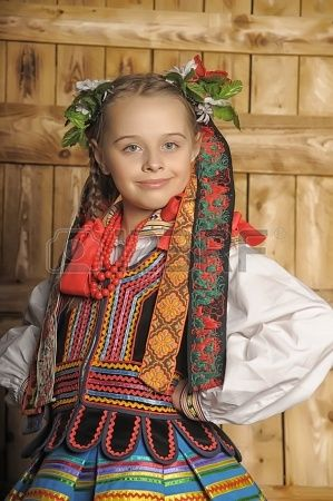 Polish girl in national costume Krakow: