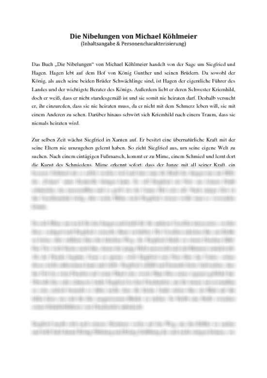 Die Nibelungen Michael Kohlmeier Inhaltsangabe Und Personencharakterisierung Inhaltsangabe Deutsch Inhaltsangabe Nibelungen Michael Kohlmeier