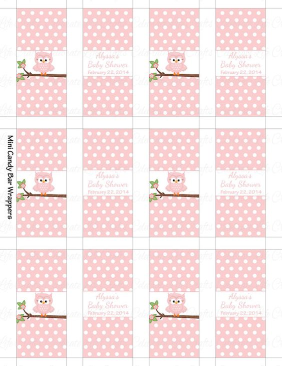 PERSONALIZED Mini Candy Bar Wrappers for Baby Shower - Custom Made Chocolate Bar Party Favors - Pink Polka Dot Owl  - Baby Girl - G060