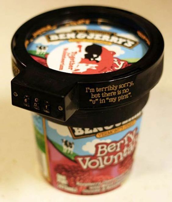 HAHA. This would be helpful (yet cruel) at my house.  Ben and Jerry's launch 'Euphori-Lock' to prevent others from stealing your favorite ice cream.