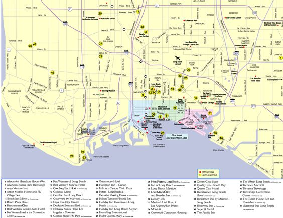 cool map of long beach california travelsmaps pinterest