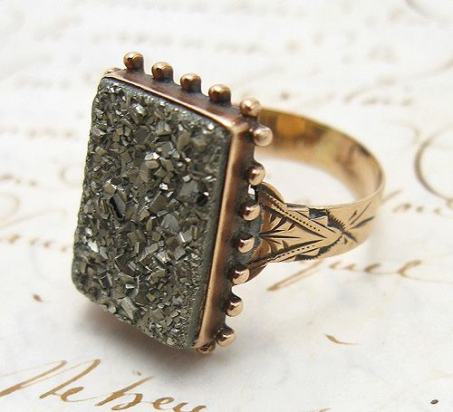 ring, pyrite - american, c late 1800's