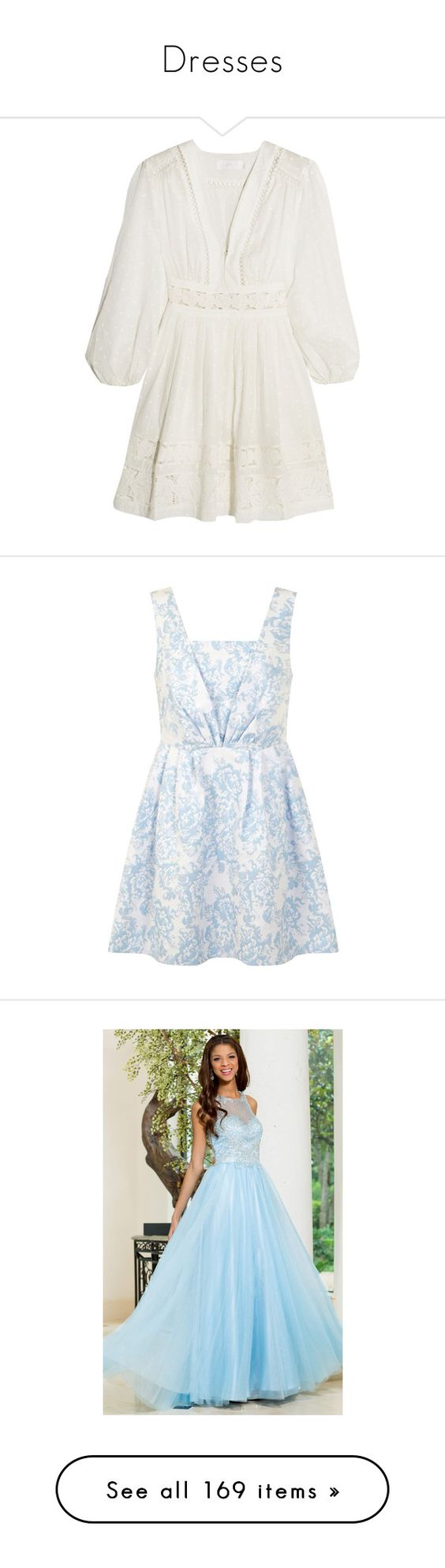"""Dresses"" by graciegrove ❤ liked on Polyvore featuring dresses, white fit and flare dress, white sleeve dress, fit and flare summer dresses, sleeved dresses, white dress, blue, petite, floral prom dresses and jacquard dress"