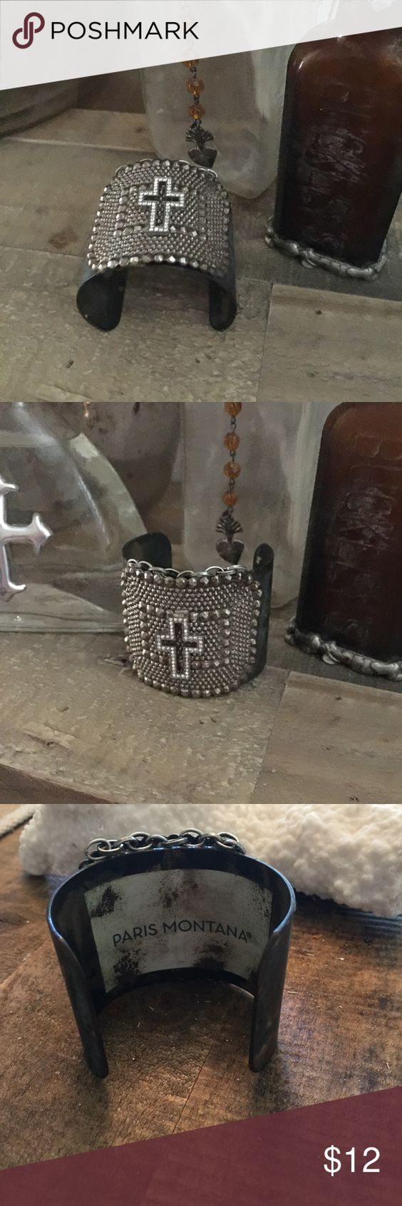 Paris Montana cross cuff bracelet Rustic metal cross cuff bracelet.  Adjustable. Not sure of the metals used hand made. Jewelry Bracelets