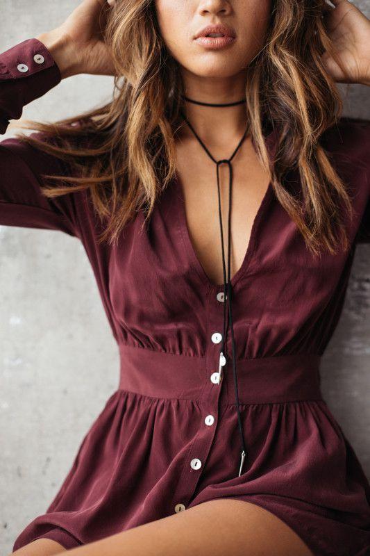 Summer fashion | Burgundy boho dress, necklace