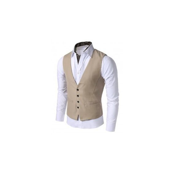 Mens Casual 4button Slim Vest ($35) ❤ liked on Polyvore featuring mens, men's clothing, men's outerwear, men's vests and men
