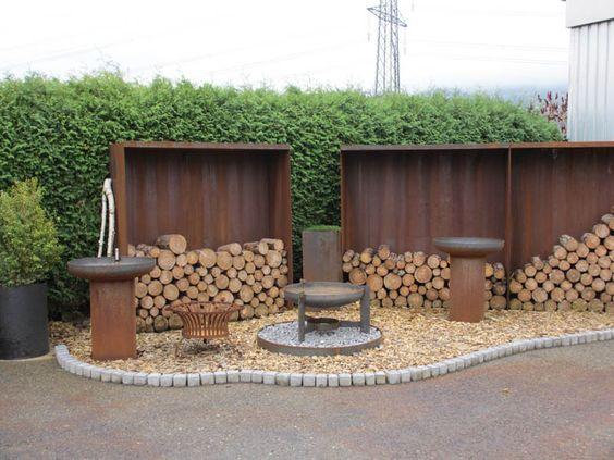Sichtschutz rostig, Garteneinfassung, Brunnen aus Stahl und COR - mobiler sichtschutz garten
