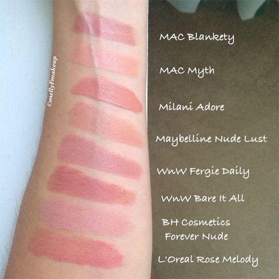 Nude lipsticks! MAC Blankety, MAC Myth, Milani Adore ...