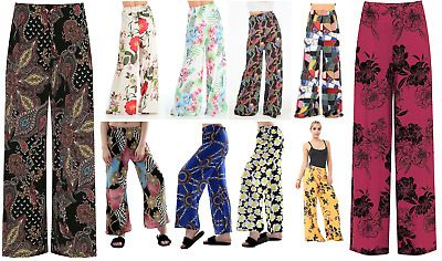 NEW LADIES PLUS SIZE PLAIN PALAZZO TROUSERS WOMENS FLARED WIDE LEG PANTS 8-26
