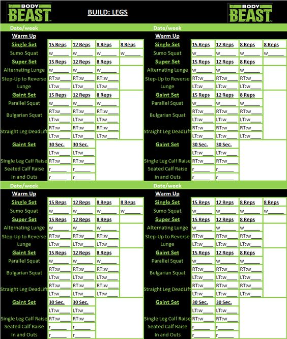 body beast workout tracker sheet gym shit pinterest legs workout and body beast. Black Bedroom Furniture Sets. Home Design Ideas