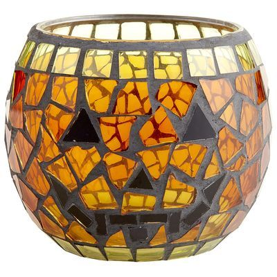This mosaic pumpkin votive holder from Pier 1 is so cute; will definitely be picking this up soon!: