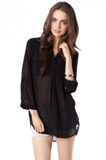 Pure Chiffon Blouse in Black / Shopsosie #blouse #shopsosie #black