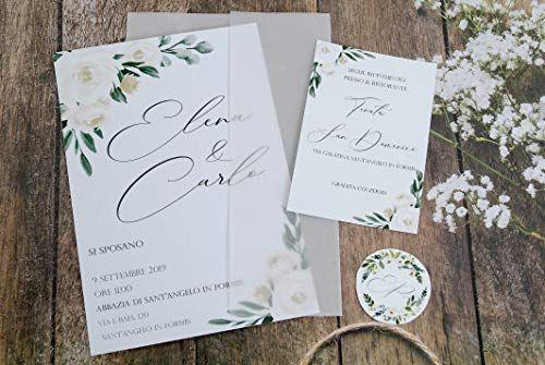 Partecipazioni Matrimonio Personalizzate Vellum Inviti Nozze Con Carta Traslucida Fiori Avorio 10 Pezzi Cesana Like In 2020