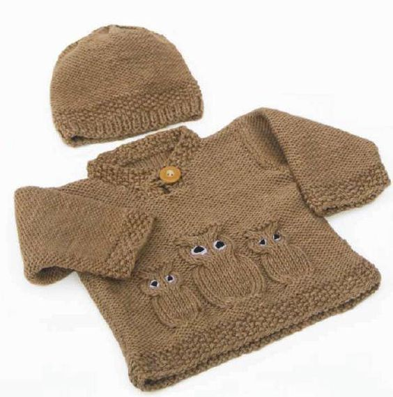 Free Knitting Patterns For Baby Owl Hats : Owl Sweater & Hat - Free Pattern strikkeh?kle Pinterest Hats, Ravel...