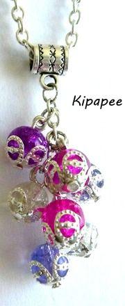 """pendentif """"pluie de perles acidulées"""" et sa chaîne  argentée  : Pendentif par kipapee"""
