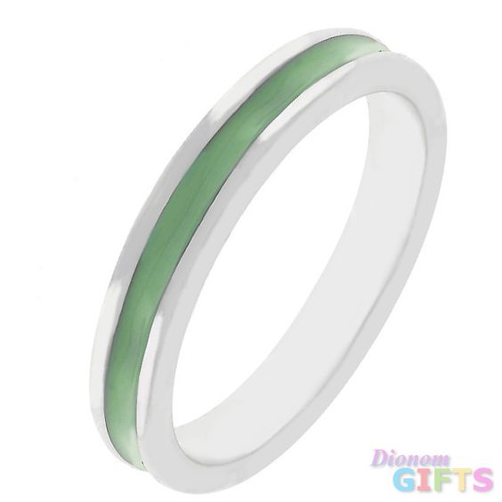 Olive Green Enamel Eternity Ring