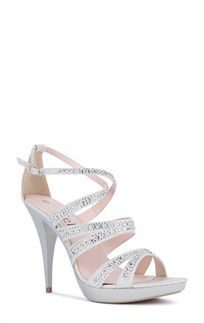 Silver Small Platform Strappy High Heels with Glitter and Stones ...