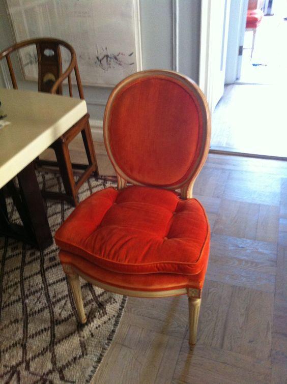 Vintage louis xvi style chairs in orange velvet upholstery