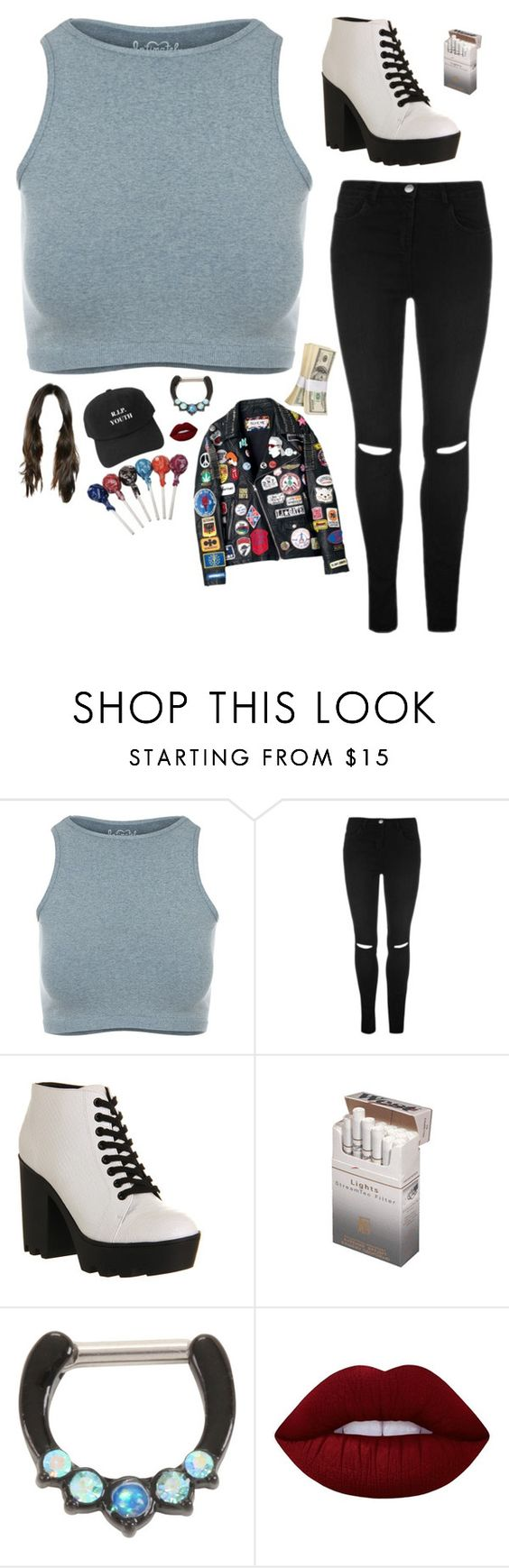 """""""Untitled #647"""" by lame-spacemilk ❤ liked on Polyvore featuring Free People, Office and Lime Crime"""