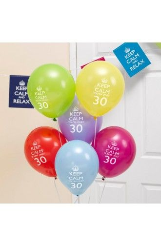Pack of 8 keep calm party on 30th birthday balloons for 30th birthday decoration packs