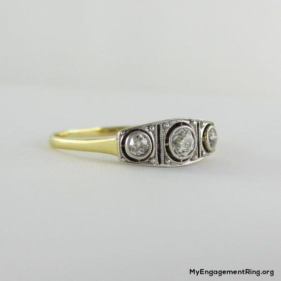 Old European Cut Diamonds in Platinum & Yellow Gold, Edwardian 1910s engagement ring - My Engagement Ring