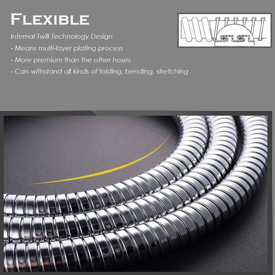10FT Shower Head Hose Handheld Extra Long Stainless Steel Bathroom Flexible Tube