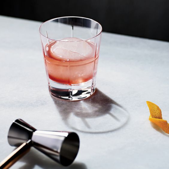 Old-fashioned-style genever cocktail  Gin cassis marasch ginger