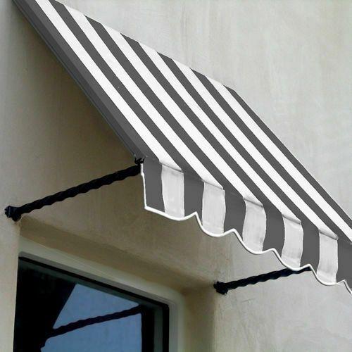 Awntech Sant43 3gw Window Entry Awning 3 3 8 W X 4 11 16 H X 3 D Gray White Awntech Window Awnings Metal Awning Fabric Awning