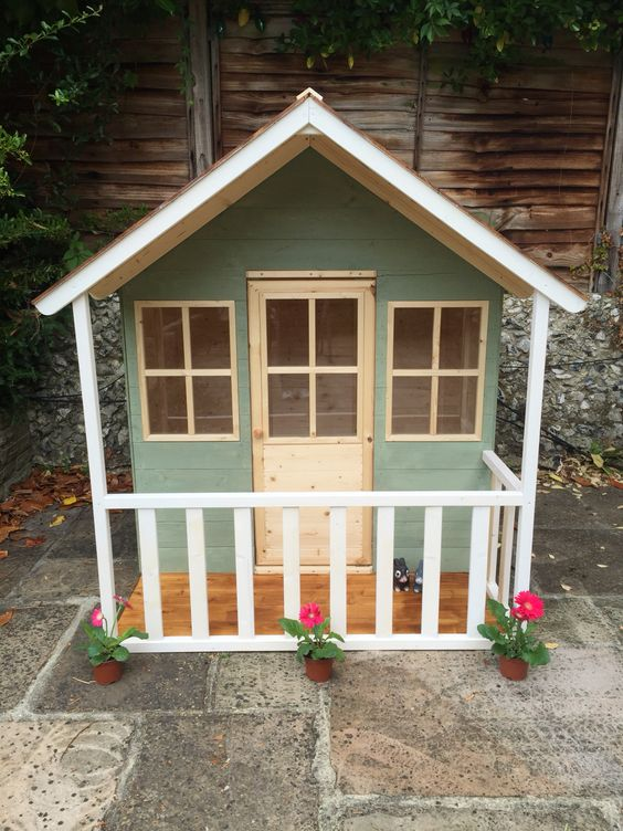 Wendy house play house exterior painted in cuprinol for Wooden wendy house ideas