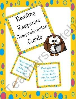 reading response reading comprehension task cards product from The-Teaching-Side on TeachersNotebook.com
