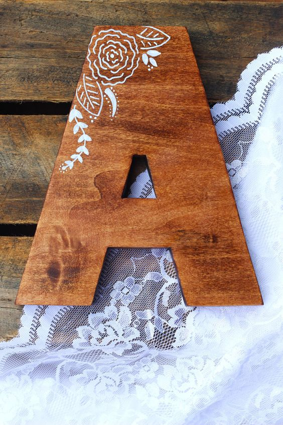 Hand painted floral pattern wood monogram wall by MadeinNvrlnd