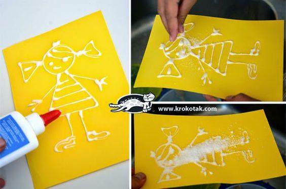 Sempre criança:  http://krokotak.com/2013/04/salt-and-pva-glue-pai...