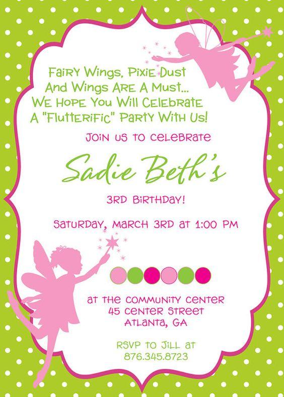 Fairy Princess Birthday Party Invitation   Birthday party ...