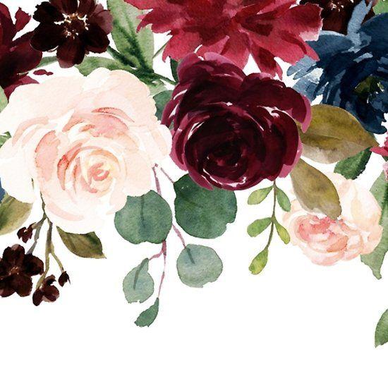 Burgundy Blue Watercolor Flowers Border Watercolor Flowers