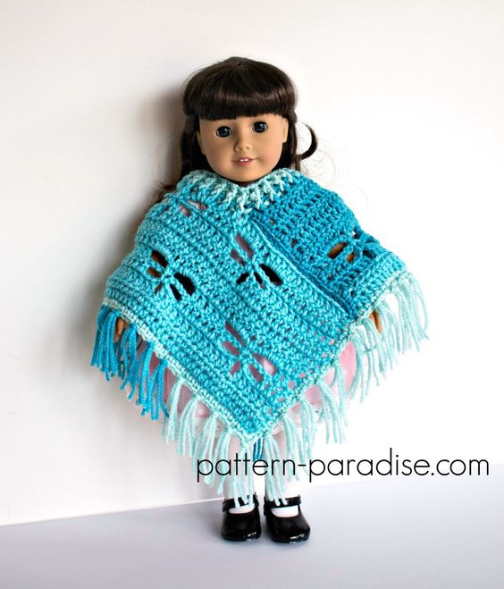 Free Crochet Pattern Dragonfly Poncho For 18 Dolls Muecas