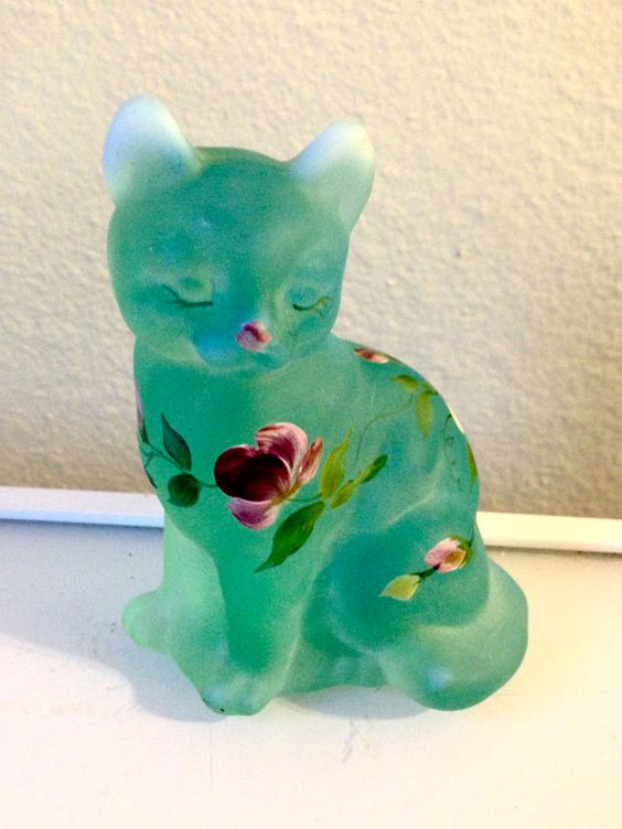 Vintage Hand Painted Fenton Glass Cat Signed D by JigsandLarry