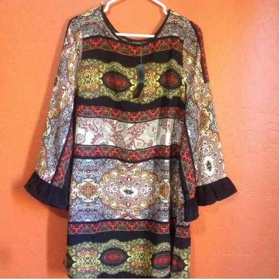 NWT Boho Chic Dress Size medium bell sleeves with black ruffle Dresses Mini