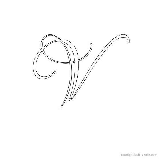 Calligraphy Alphabet Stencil V