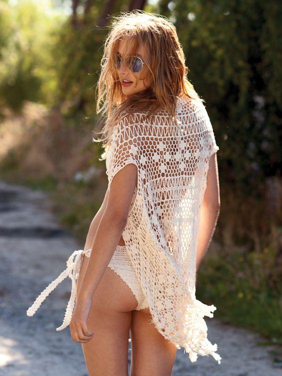 Crochet Tassel waterfall vest and Knotty bikini by Anna Kosturova: Anna Kosturova, Crochet Beachwear, Crochet Fashion, Knotty Bikini, Crochet Top, Women, Tassel Vest