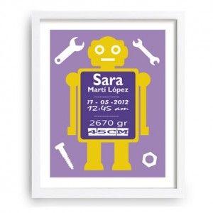Decorativo cuadro infantil con robot que da la posibilidad de introducir los datos del nacimiento de tu bebé. - www.babyprint.es