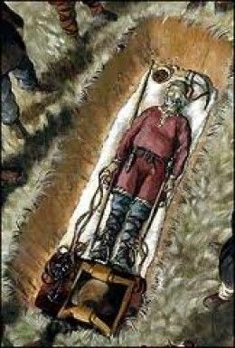 Vikings:  Sketch showing a #Viking corpse before interment, based on Norse grave finds at Cumwhitton, near Carlisle, #England.: