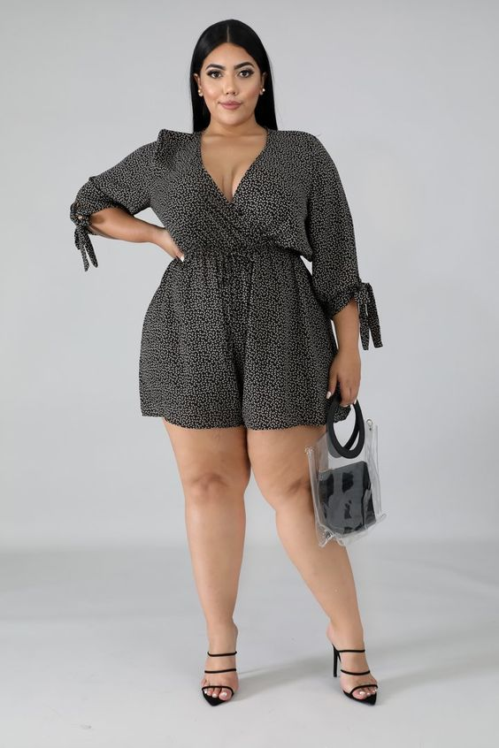 Sweetish Romper | Style 9056 X DescriptionThis sweetish romper features, a non-stretch fabric, v-neckline, short sleeves, finished with a back button up closure. Model is wearing a 2X100% PolyesterHand wash cold waterDo not bleachMODEL STATSHeight: 5.6