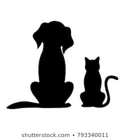 Silhouette Of Dog And Cat On White Background Cat Background Cat Silhouette Dog Cat