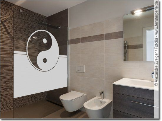 Fensterfolie Yin Yang In 2020 Fensterfolie Runde Badezimmerspiegel Fenster