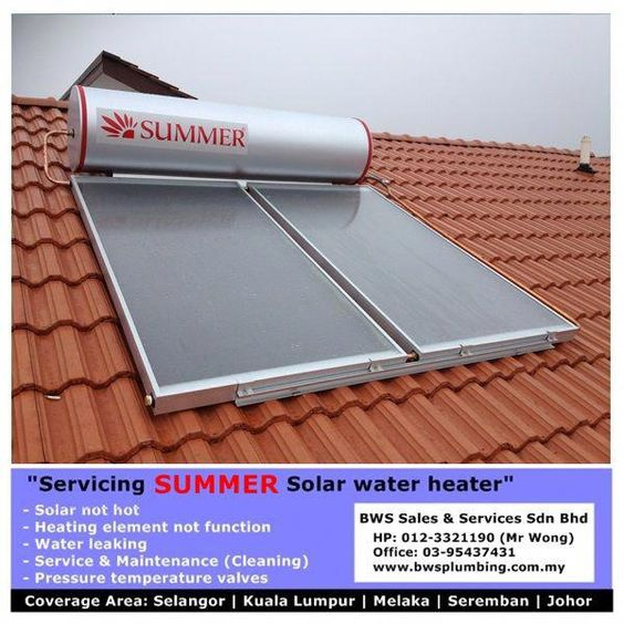 Summer Solar Water Heater Malaysia Supply And Install Summer Solar Hot Water System And Repair Summer Solar W In 2020 Solar Hot Water System Solar Heating Solar Water